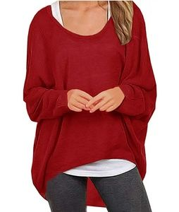 🆕⭐Red oversized dolman top⭐